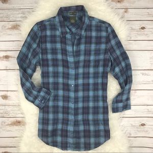 Anthropologie Fei Plaid Button Back Tunic Shirt